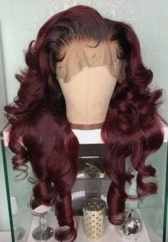 Trendy Haircut, Hair Colorful, Curly Hair Styles, Natural Hair Styles, Kim Kardashian Hair, Burgundy Hair, Ombre Burgundy, Human Hair Lace Wigs, Wigs For Black Women