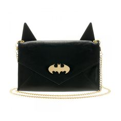 Batman Batman Ears Envelope Wallet ($15) ❤ liked on Polyvore featuring bags, wallets, fake bags, pocket bag, chain wallet, evening bags and chain bag