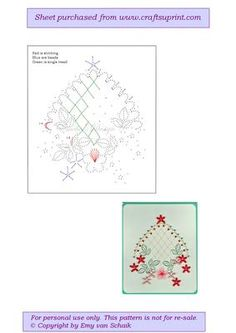 ED004 Trellis with flowers on Craftsuprint designed by Emy van Schaik - Stitching with beads - Now available for download!