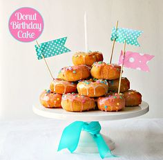 instead of a regular cake, a cake made of sprinkle donuts from dunkin donuts would be perfect for me!