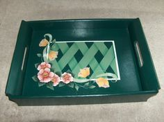 Wooden Tray with Lattice Summer Flowersand Tulips  by paintingbug, $16.95