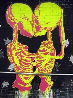 kissing skeletons GRAFFITI STREET A0 POSTER  PRINT FOR GLASS FRAME