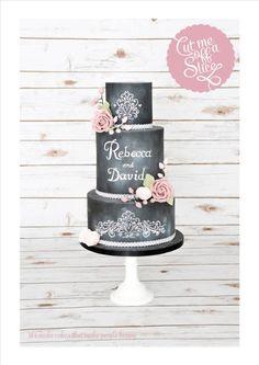 Pretty Chalkboard Wedding Cake with Pink Roses - Cake by cutmeoffaslice Beautiful Cake Designs, Beautiful Wedding Cakes, Gorgeous Cakes, Pretty Cakes, Cake Roses, Pink Rose Cake, Pink Roses, Pink Flowers, Chalkboard Cake