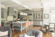Love the touches of coral in this grey Kitchen Martha O'Hara Interiors