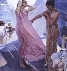 After the Bath, Valencia - Joaquín Sorolla - Completion Date: 1916 Spanish Painters, Spanish Artists, Pink Painting, Figure Painting, Valencia, Claude Monet, Fashion Illustration Vintage, Impressionist Paintings, Contemporary Landscape