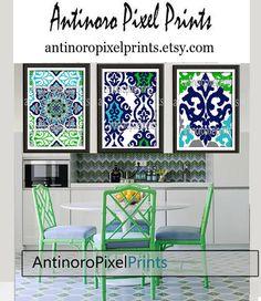 Navy Green Turquoise Digital Ikat Wall Art Vintage / Modern Inspired -Set of (3) - 8x10 Prints -  (UNFRAMED) on Etsy, $35.00