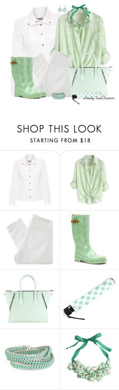 """""""Mint and White,Rainy Day"""" by honkytonkdancer ❤ liked on Polyvore featuring ELLIOTT LAUREN, Nobody Denim, Chooka, Aevha London and P.A.R.O.S.H."""