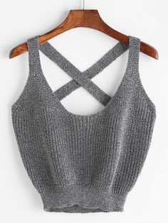 SheIn offers Marled Knit Crisscross - Tank Tops - Ideas of Tank Tops - Shop Marled Knit Crisscross Tank Top online. SheIn offers Marled Knit Crisscross Tank Top & more to fit your fashionable needs. Cute Crop Tops, Crop Top Shirts, Tank Tops, Crochet Crop Top, Knitted Tank Top, Knit Tops, Knit Crochet, Girls Fashion Clothes, Fashion Outfits