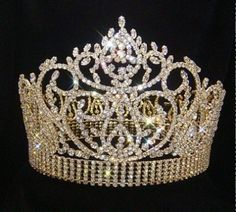 Large Tall Crystal Beauty PageantQueen Prize Award Crown (Gold or Silver)- by Leslie's Best, Inc Royal Tiaras, Royal Jewels, Tiaras And Crowns, Glitz Pageant, Pageant Crowns, Beauty Pageant, Crystal Rhinestone, Swarovski Crystals, Bride Tiara