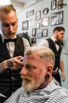 Amsterdam Barber Shop - Haarbarbaar - Tim Collins Photography .grey beard+ side part #2