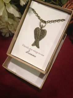 Wing friendship necklace friends give wings by RedLanternDesigns