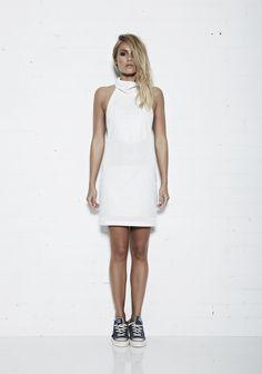 ELLIOTT LABEL ARROW HALTER DRESS // Super soft premium Leather Halter Dress     $499 USD @elliottlabel