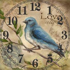 pretty blue bird that says Love Always Vintage Birds, Vintage Postcards, Vintage Images, Vintage Prints, Shabby, Decoupage Vintage, Decoupage Paper, Paper Clock, Paper Birds