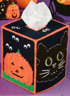 ~ ~ ~ PLASTIC CANVAS ** PATTERN ONLY ~ HALLOWEEN TISSUE BOX COVER ~ CUTE ~ ~ | Crafts, Needlecrafts & Yarn, Embroidery & Cross Stitch | eBay!