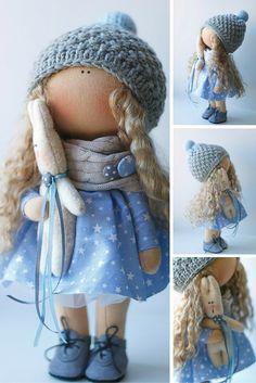 Blue tilda doll Art doll handmade blonde blue white colors Soft doll Cloth doll…