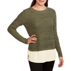 Faded Glory Women's Marled Shaker 2fer Sweater, Size: Medium, Green