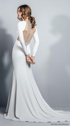 sottero midgley fall 2017 long sleeves halter neckline simple clean chic elegant fit and flare sheath wedding dress open low back medium train (995) bv