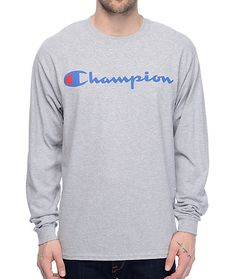 The Patriotic Script heather grey long sleeve t-shirt from Champion brings athletic style to any look. Size Small!