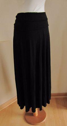 Gap Foldover Jersey Knit Maxi Skirt S 4 6 True Black Long Boho Modest 2014 New #GAP #Maxi