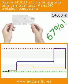 Durable 2418/19 - Funda de tarjeta de visita para organizador Visfiix (40 unidades), transparente (Productos de oficina). Baja 67%! Precio actual 14,60 €, el precio anterior fue de 43,66 €. http://www.adquisitio.es/durable/erweiterungssatz-f%C3%BCr