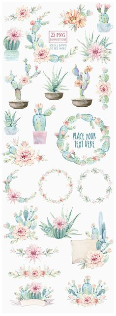 Watercolor cactuses and succulents - cactus wreaths banners and desert flowers by Lemaris Watercolor Cactus, Watercolor Pattern, Watercolor Tattoo, Watercolor Paintings, Simple Watercolor, Watercolor Animals, Watercolor Techniques, Watercolor Background, Watercolor Landscape