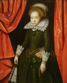Portrait of a girl of the de Ligne family, 1616 (oil on canvas) (one of a pair) (see also 142776) creator Gheeraerts, Marcus (c.1561-1635) (attr. to) nationality English description possibly children of Daniel de Ligne, a refugee from the persecution of the Duke of Alva, knighted by James I in 1620; lived in Harlaxton Manor in Lincolnshire; location Private Collection medium oil on canvas date 1616 (C17th) dimensions