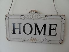 VINTAGE ANTIQUE STYLE CREAM METAL REVERSIBLE HOME SIGN CHIC N SHABBY WALL DOOR