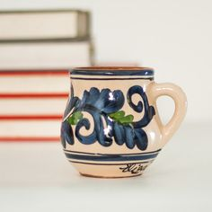 Ceramic Mug Pottery Cup Unique Hand Painted by CozyTraditions, Christmas Gift Idea for Her