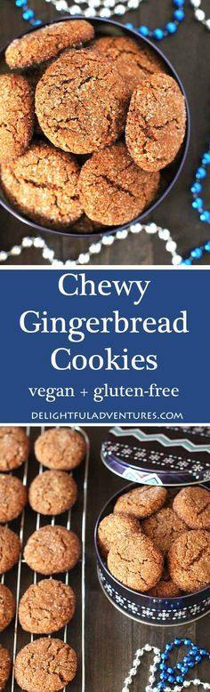 Chewy, perfectly spiced, these vegan gluten free gingerbread cookies will make a nice addition to your Christmas baking list and become a new favourite! via @delighfuladv #veganglutenfree #vegancookies #veganchristmas #vegangingerbread