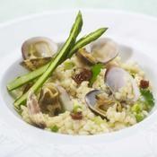 Risotto aux palourdes, asperge verte par Pascal Fayet - une recette Fruits de mer - Cuisine