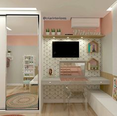 """2,867 curtidas, 20 comentários - Interiores e Decor (@interior.inspira) no Instagram: """"Inspiração linda de quarto de menina  O  projeto conta com papel de parede geométrico, composição…"""""""