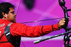 Luis Alvarez of Mexico in action in the men's Team Archery Eliminations match between Mexico and Malaysia on Day 1 of the London 2012 Olympic Games at Lord's Cricket Ground on July 28, 2012 in London, England.