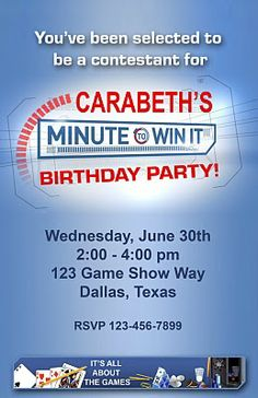 """Paper Perfection: Free """"Minute to Win It"""" Birthday Party Invitation"""