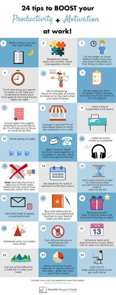 24 productivity and motivation tips infographic. 24 Tipps to boost your productivity and motivation at work. Work Productivity, Increase Productivity, Productive Efficiency, Self Development, Personal Development, Amélioration Continue, Co Working, Time Management Tips, Inbound Marketing