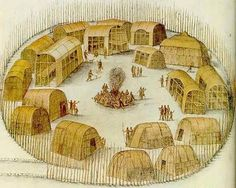 Native American Algonquin Indian village, Sketch from observations made by the English expedition under John White in 1585 of Pomeiock, Gibbs Creek, North Carolina, showing huts and longhouses inside a protective palisade. From the British Museum. Native American Tribes, Native American History, American Life, Early American, Catawba Indians, Algonquin Indian, Roanoke Colony, Powhatan Indians, Urban Planning