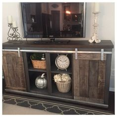 Plush design rustic tv console 17 diy entertainment center ideas and designs for your new home custom built tv stand table diy with barn doors fireplace Furniture, Interior, Bookshelves Diy, Diy Entertainment Center, Rustic Tv Console, Tv Decor, Home Decor, Rustic Tv Stand, Home Diy