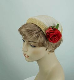 Vintage 1950s Hat Ivory Straw Clip or Half with Red Rose by alleycatsvintage on Etsy