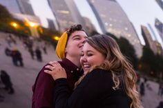 Chicago fall engagement session in millennium park