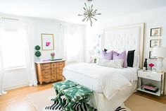 Brighton Keller of Brighton The Day reveals her bedroom makeover with Benjamin Moore's Color of the Year 2016 Simply White OC-117.