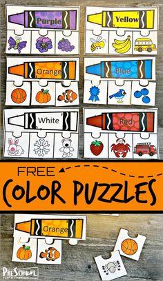 FREE Printable Color Puzzles - Fun Color Activity for Preschoolers