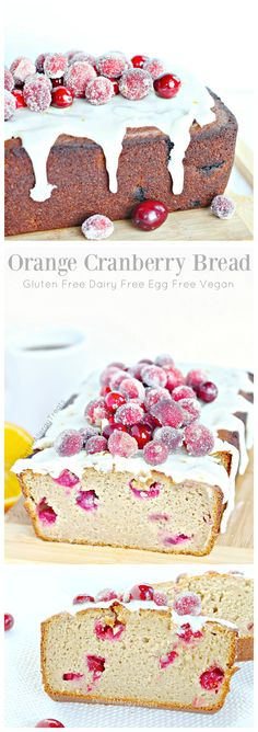 Gluten Free Orange Cranberry Pound Cake (dairy free Vegan egg free) Beautiful easy sparkling cranberries adore this super moist bread! #tothefullest