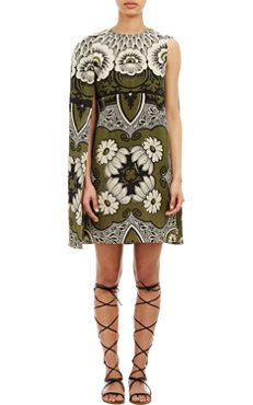 Valentino Asymmetric Cape Dress