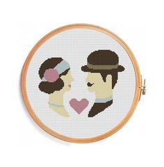 0 point de croix  portrait couple - cross stitch