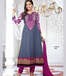 Buy Gray Semi Georgette Sonal Chauhan Embroidered Anarkali Suit  anarkali-salwar-kameez online