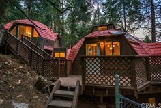 geodesic dome twins! Nice red roofs and multiple levels. 24021 Lakeview Dr, Crestline, CA 92325   Zillow