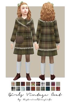 TS4: Girls Vintage Coat (patterned) | History Lover's Sims Blog