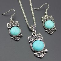 Earrings & Necklace Jewelry Sets Owl Pendant Jewelry Silver Plated Turquoises jewelry india Wholesale