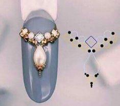 Nail Crystal Designs, Nail Art Designs, Dot Nail Art, Nail Art Diy, Rhinestone Nails, Bling Nails, Kawaii Nail Art, Diamond Nail Art, Nail Salon Design