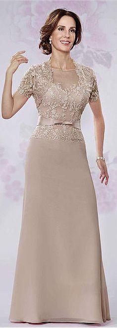 Brilliant Tulle Jewel Neckline A-line Mother Of Bride Dresses With Lace Appliques & Bowknot & Detachable Coat