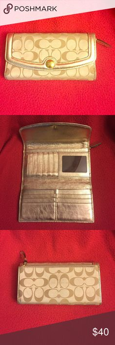 Coach gold wallet Coach gold wallet- gently used. Snap close with button, tri- fold. Zipper in back Coach Bags Wallets